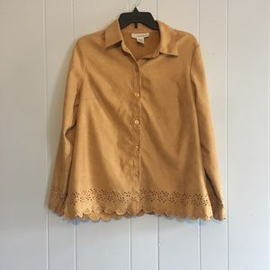 Suede style shirt with floral cutout